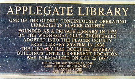 applegate-library-plaque